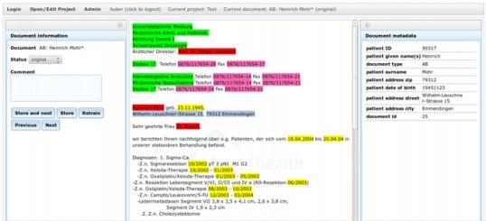 Averbis Beispielapplikation Anonymisierung Patientendaten DeID