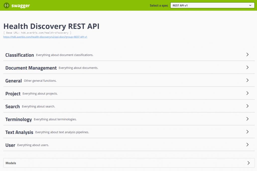 Health Discovery 6.0 REST API